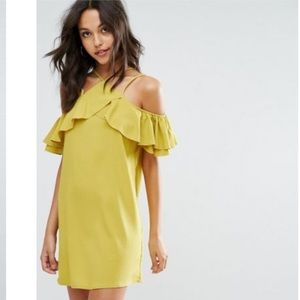 Missguided ruffle cold shoulder shift dress